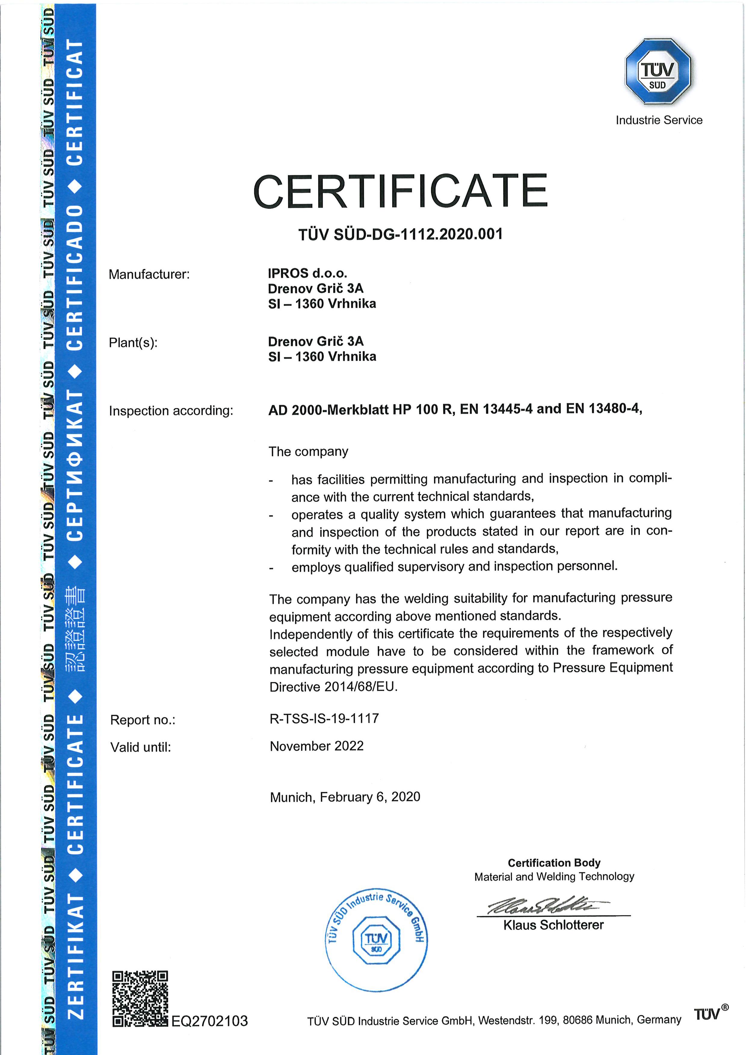 AD2000 HP100R, EN13445-4, EN13480-4 2020 ENG