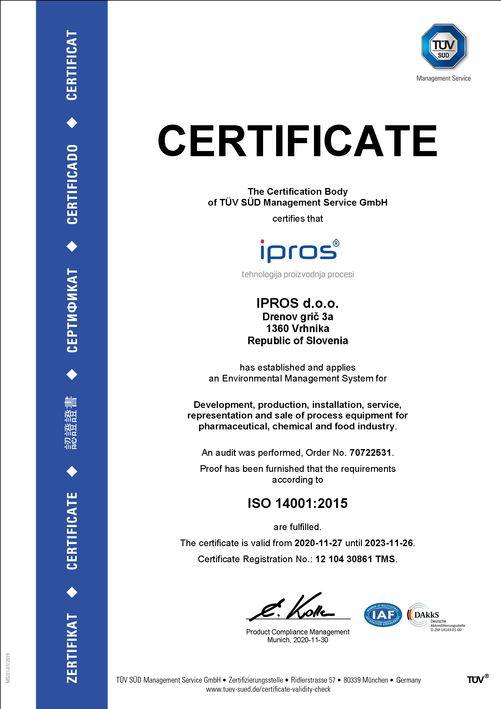 ISO 9001 14001 Ipros 2020