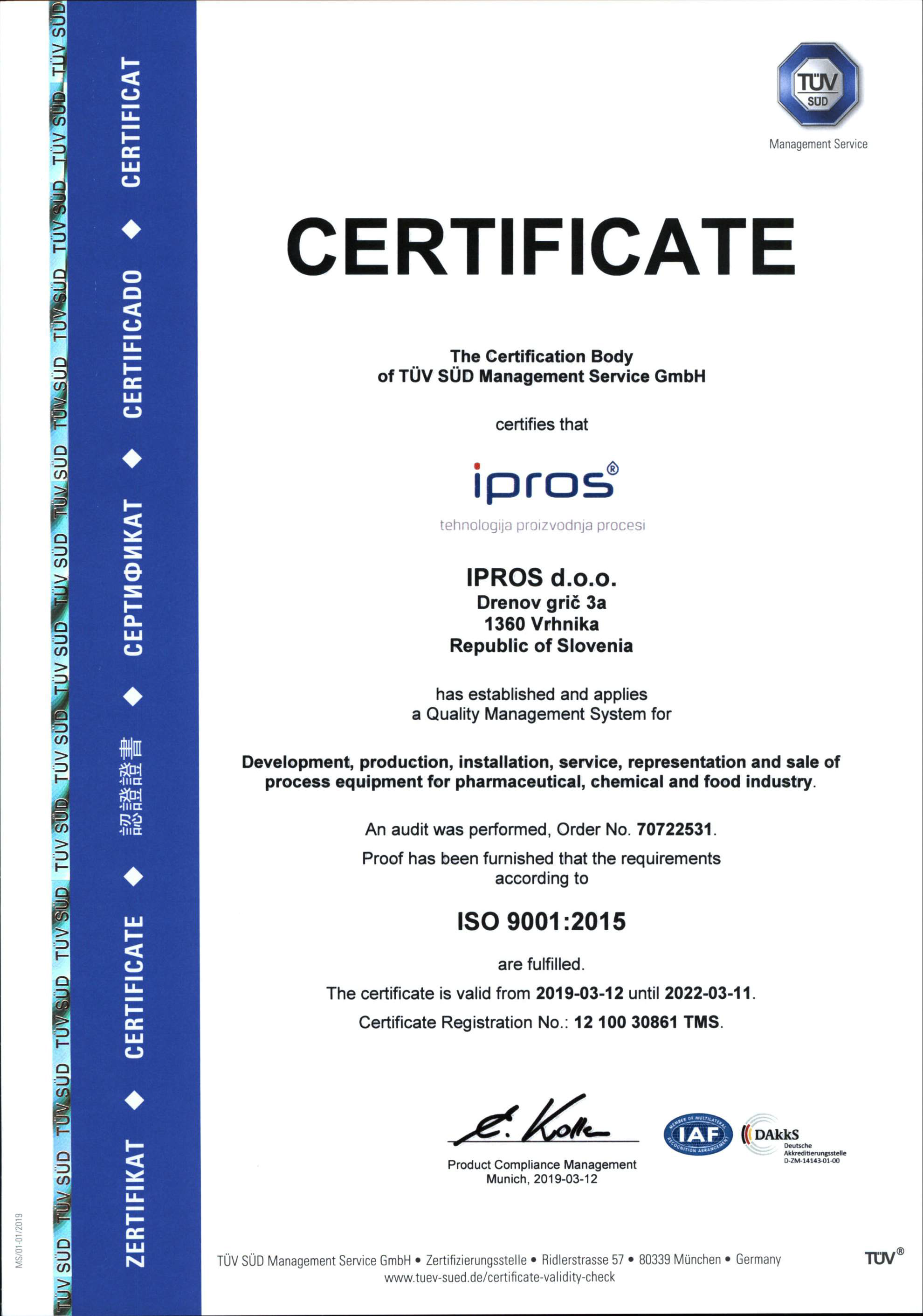 ISO 9001 Ipros ENG 2019